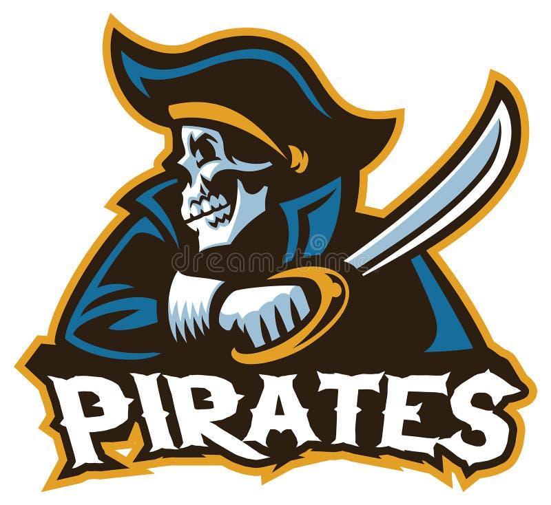 Pirata do crânio com a espada ilustração do vetor