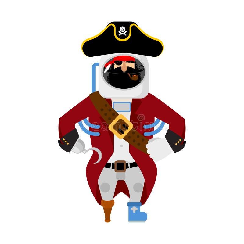 Pirata do espaço astronauta do obstrucionismo cosmonauta do corsário no protec ilustração royalty free