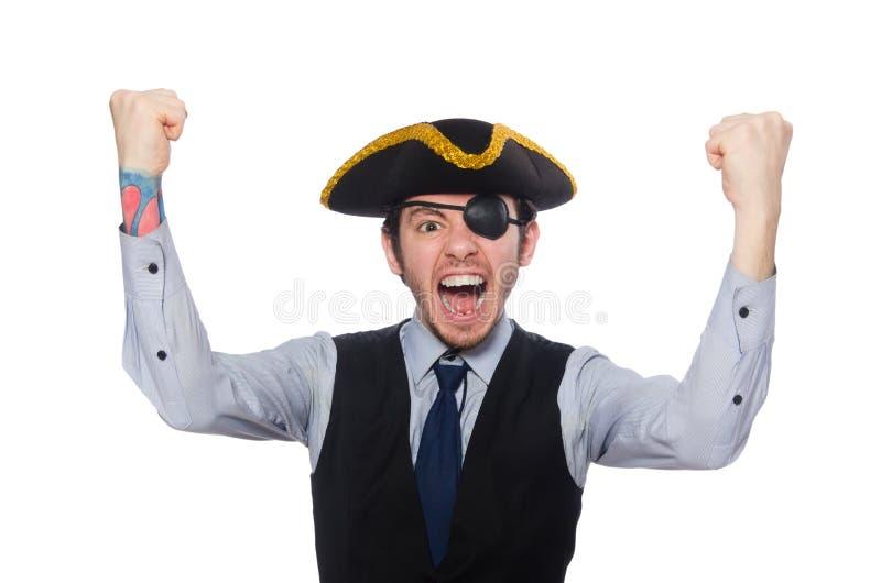 Pirata do homem de neg?cios isolado no fundo branco imagens de stock