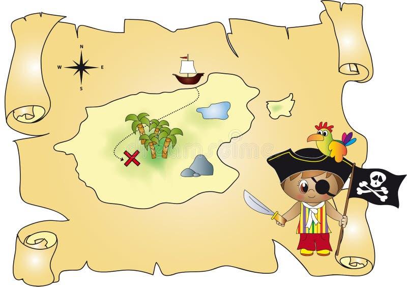 Pirata do mapa do tesouro ilustração stock