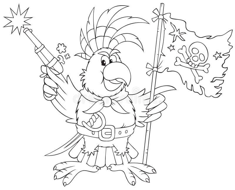 Pirata do papagaio ilustração royalty free
