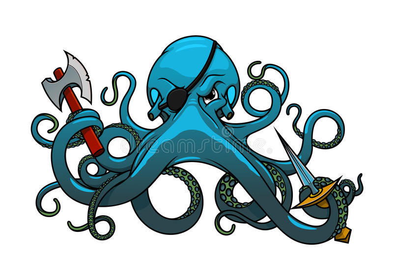 Pirata do polvo dos desenhos animados com machado e espada ilustração do vetor
