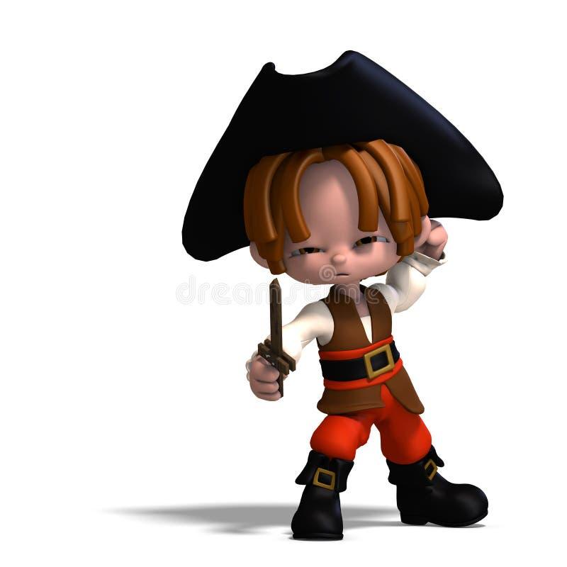 Pirata dolce e divertente del fumetto con il cappello illustrazione vettoriale