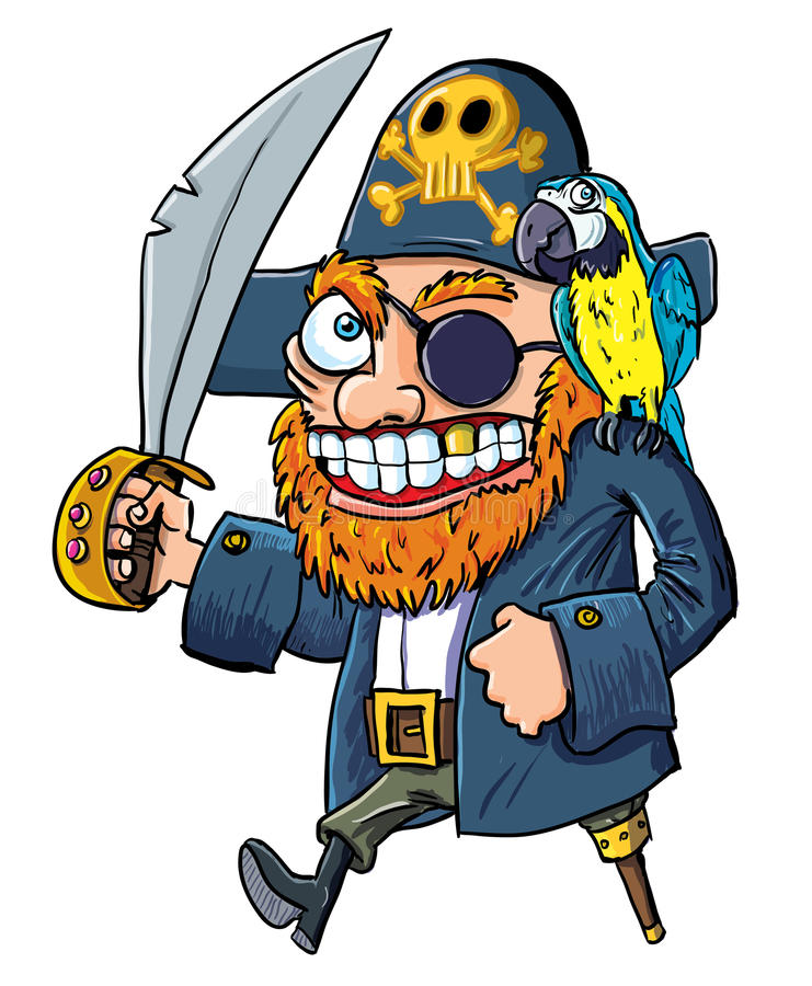 Pirata dos desenhos animados com um cutelo e um papagaio ilustração stock