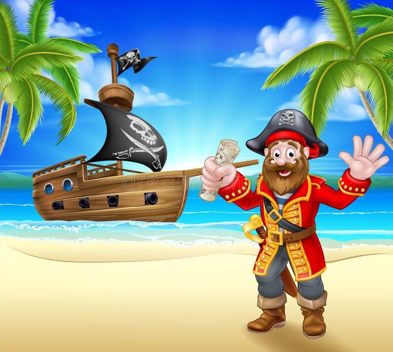 Pirata dos desenhos animados na praia ilustração do vetor