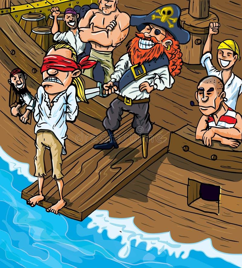 Pirata dos desenhos animados que anda a prancha ilustração stock