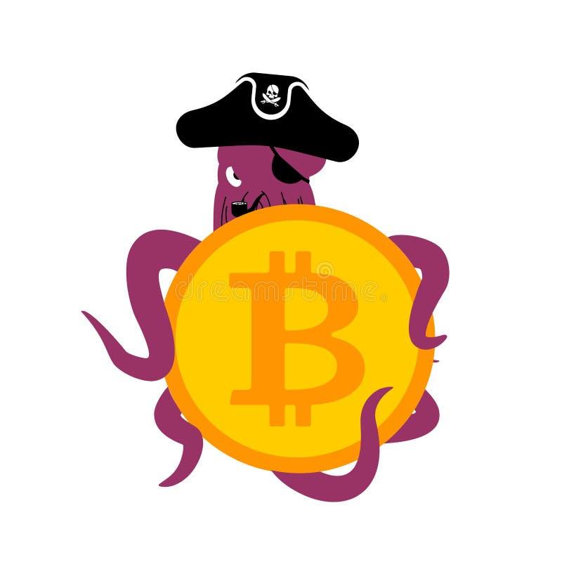 Pirata e bitcoin da Web do polvo hacker Ladrão e currenc cripto ilustração royalty free