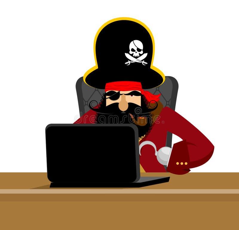 Pirata e computer portatile di web pirata informatico e PC di Internet bucaniere e COM royalty illustrazione gratis