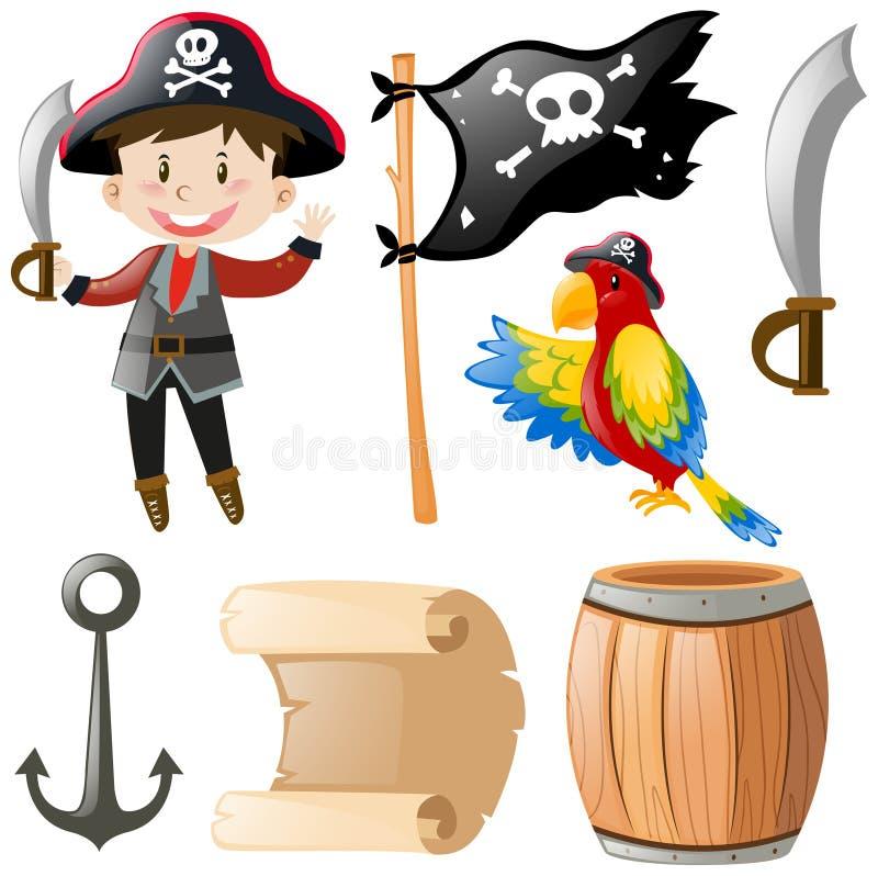 Pirata e outros elementos ilustração do vetor