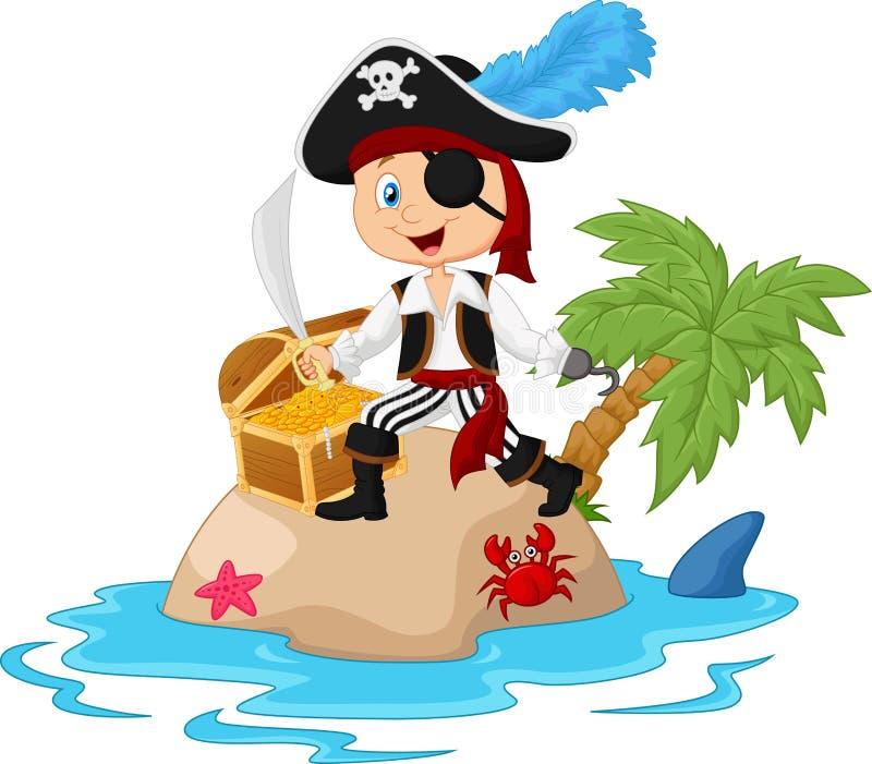 Pirata en la isla del tesoro libre illustration