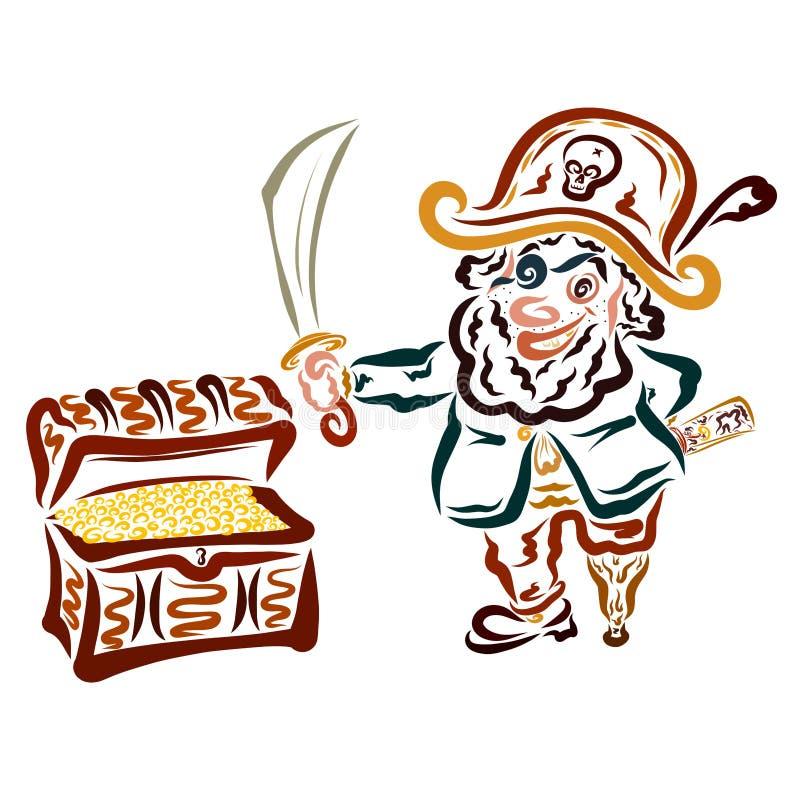 Pirata engraçado com uma espada e um mapa e uma caixa completamente das moedas ilustração do vetor