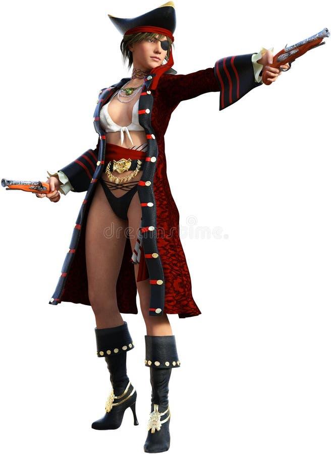 Pirata fêmea da mulher 'sexy' isolado ilustração royalty free
