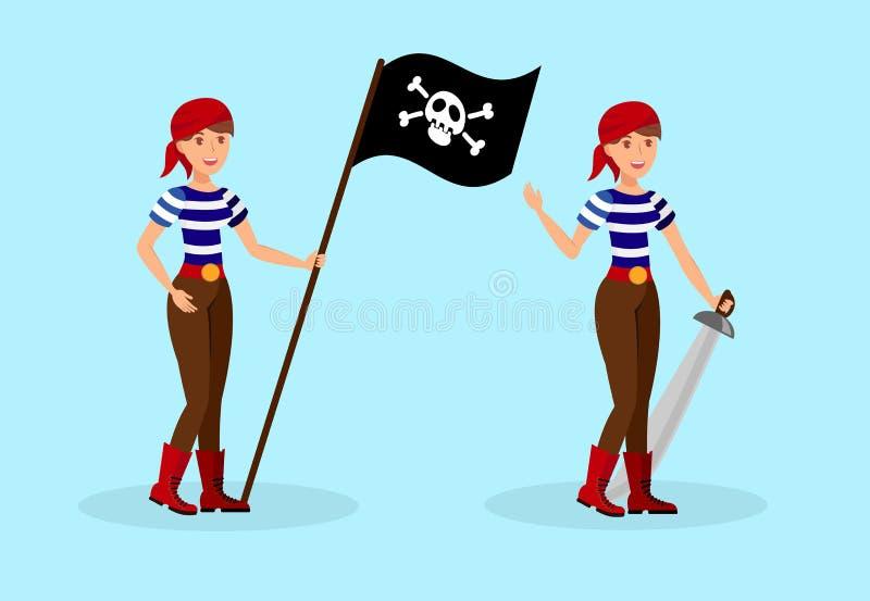 Pirata fêmea em jogo de caracteres listrado da camisa de T ilustração stock