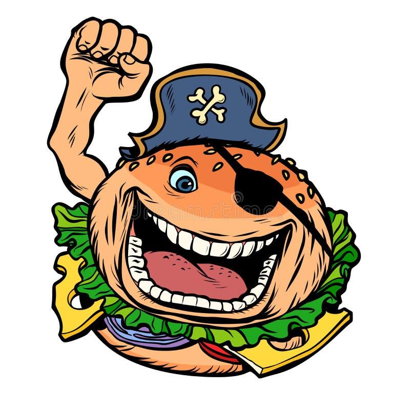 Pirata fasta food partyjny hamburger royalty ilustracja