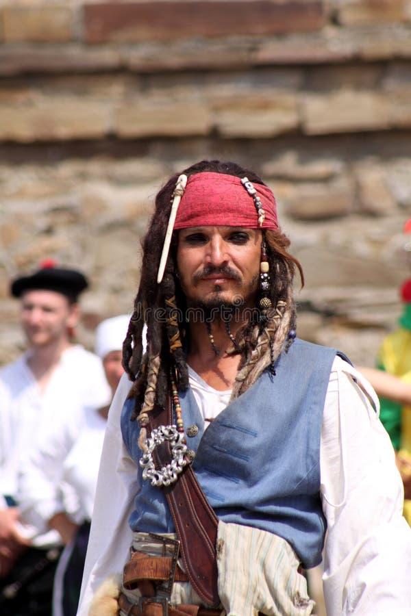 Pirata. Festival del casco de Génova fotografía de archivo
