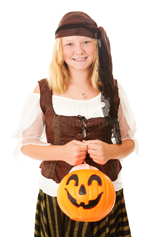 Pirata grazioso su Halloween fotografie stock libere da diritti