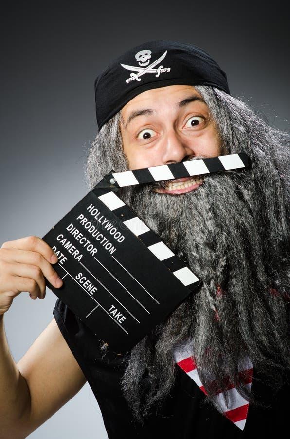 Pirata idoso com filme imagens de stock royalty free