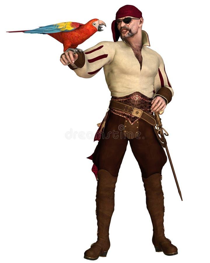 Pirata idoso com papagaio ilustração do vetor
