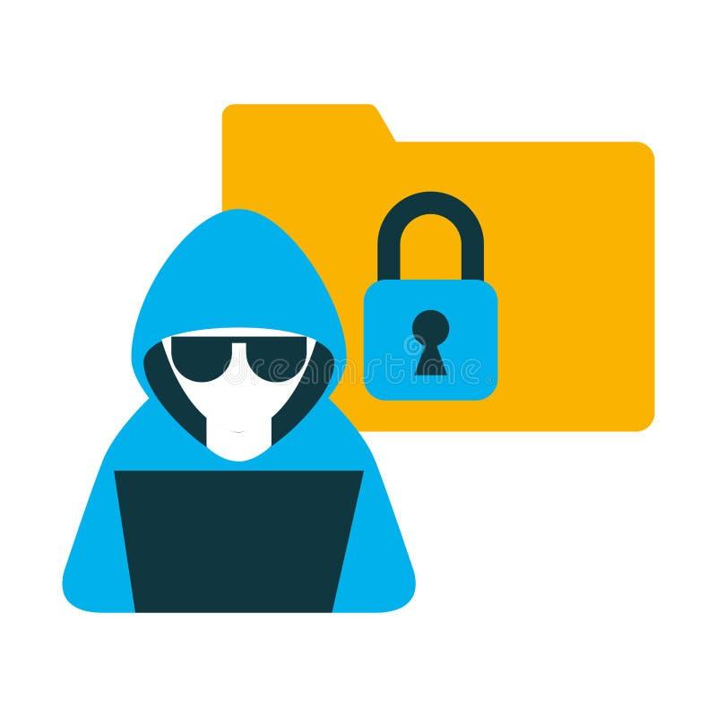 Pirata informático con el ordenador portátil y el icono aislado carpeta ilustración del vector