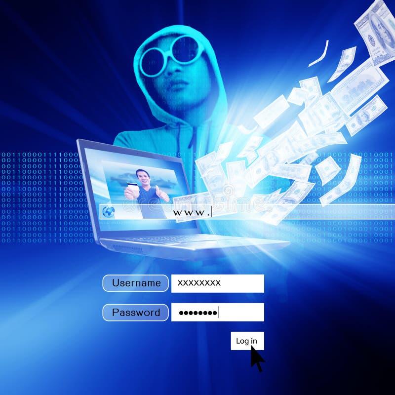 Pirata informático con la pantalla de la conexión stock de ilustración