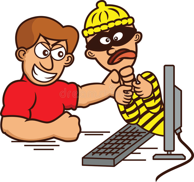 Pirata informático de Internet cogido y estrangulado fuera del monitor de computadora ilustración del vector