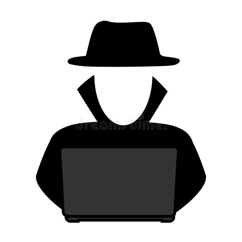 Pirata informático de la escala simple, gris delante de un icono del ordenador portátil Diseño de la silueta ilustración del vector