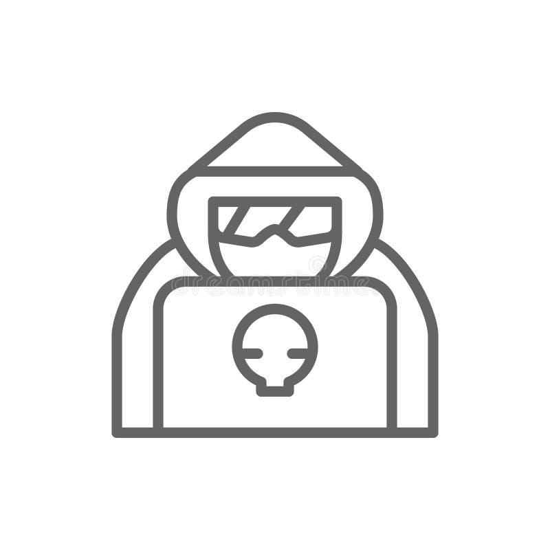 Pirata inform?tico de ordenador con el ordenador port?til, l?nea icono del agente del esp?a libre illustration
