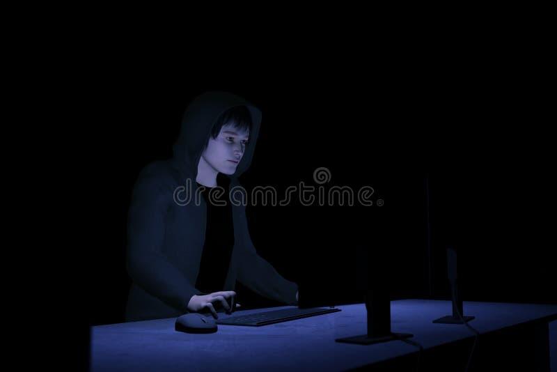 pirata informático de ordenador 3D stock de ilustración