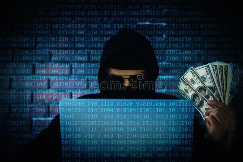 Pirata informático de ordenador que intenta a la privacidad de acceso de la información de la c imágenes de archivo libres de regalías
