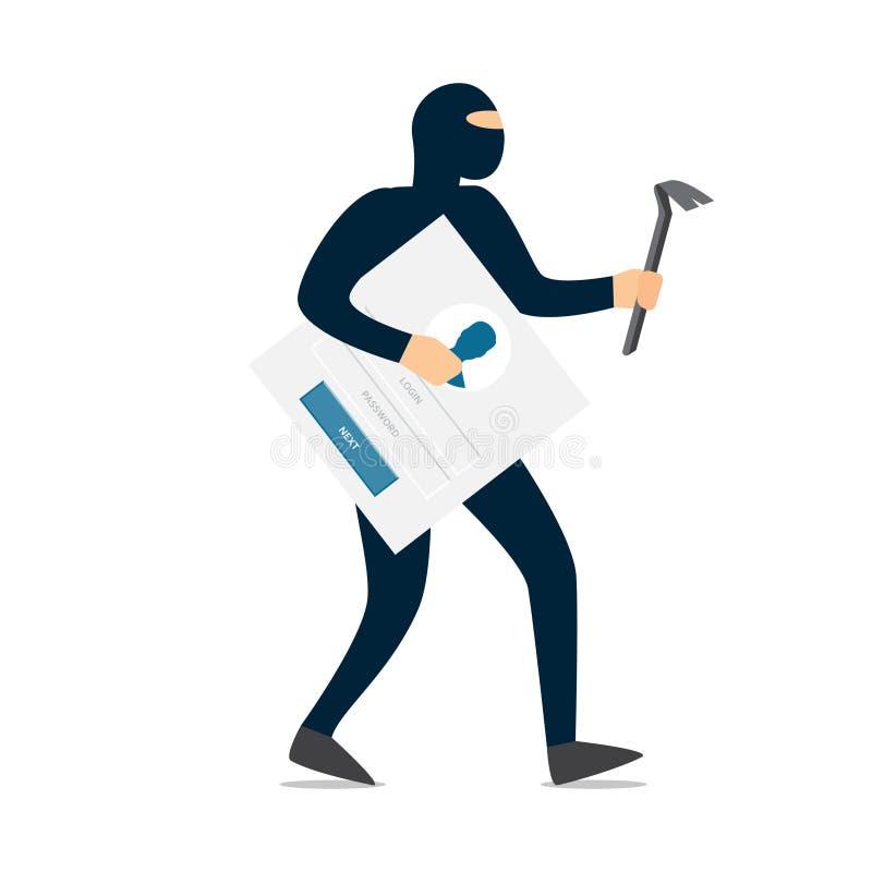Pirata informático del ladrón en máscara que roba contraseñas libre illustration