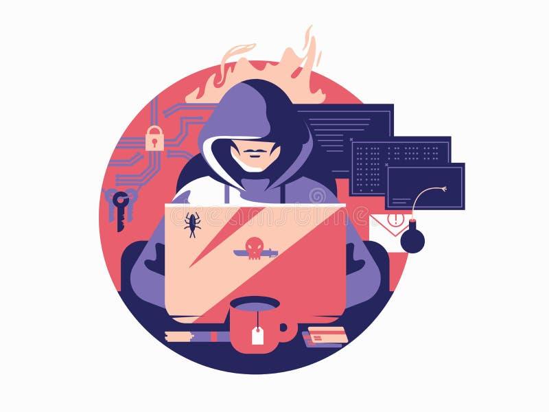 Pirata informático en sombrear stock de ilustración