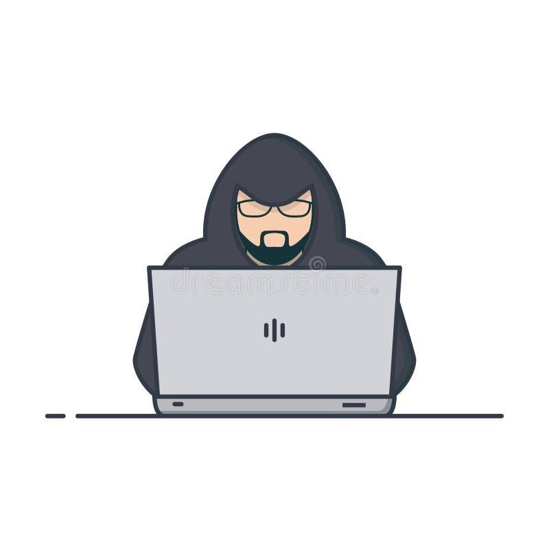 Pirata informático en sudadera con capucha stock de ilustración