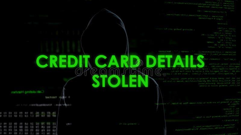 Pirata informático financiero que roba los detalles de la tarjeta de crédito, bloque de la cuenta bancaria, pérdida del dinero fotografía de archivo