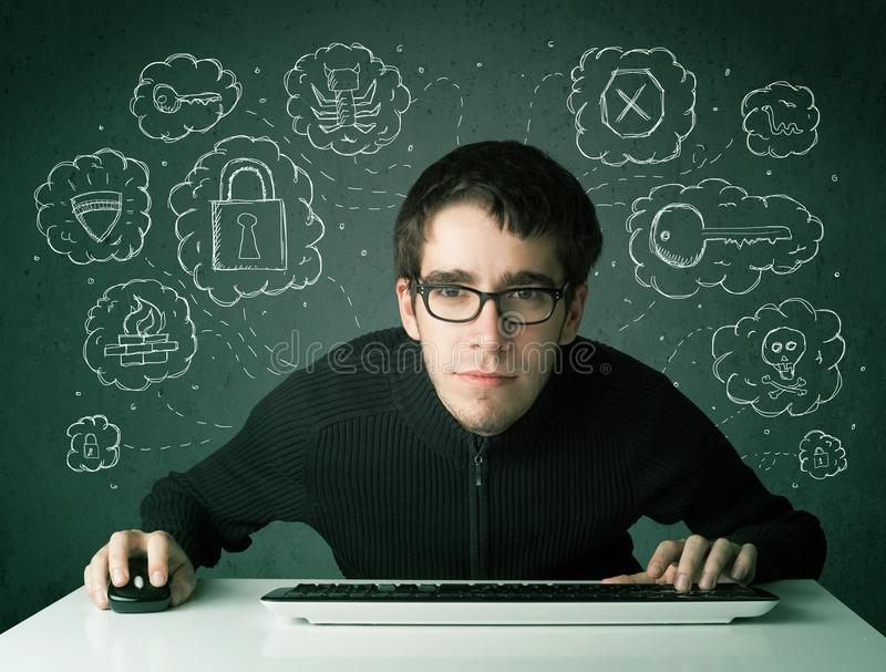 Pirata informático joven del empollón con el virus y pensamientos el cortar fotos de archivo libres de regalías