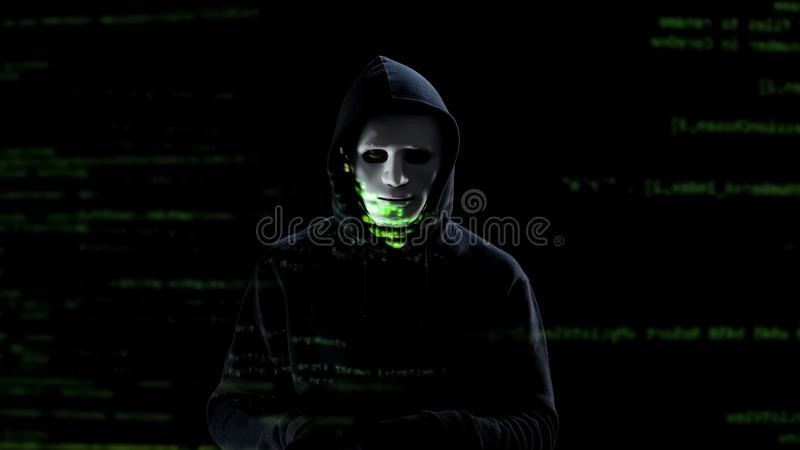 Pirata informático profesional en la máscara blanca que roba los datos personales de la PC, amenaza fotografía de archivo libre de regalías
