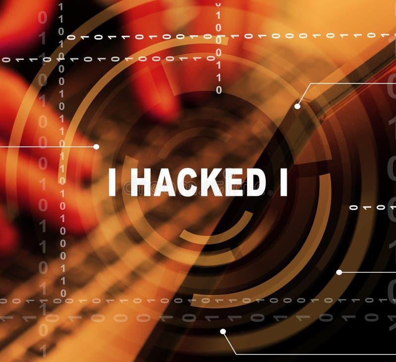 Pirata informático que mecanografía el ejemplo cortado de la alarma 3d de los datos libre illustration