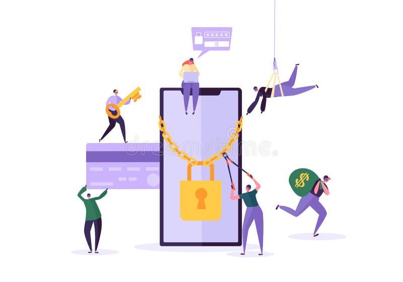 Pirata informático que roba contraseña y el dinero de Smartphone Teléfono de Characters Hacking Mobile del ladrón Ataque de la pe ilustración del vector