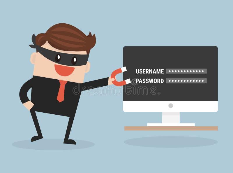 Pirata informático que roba datos confidenciales como contraseñas stock de ilustración