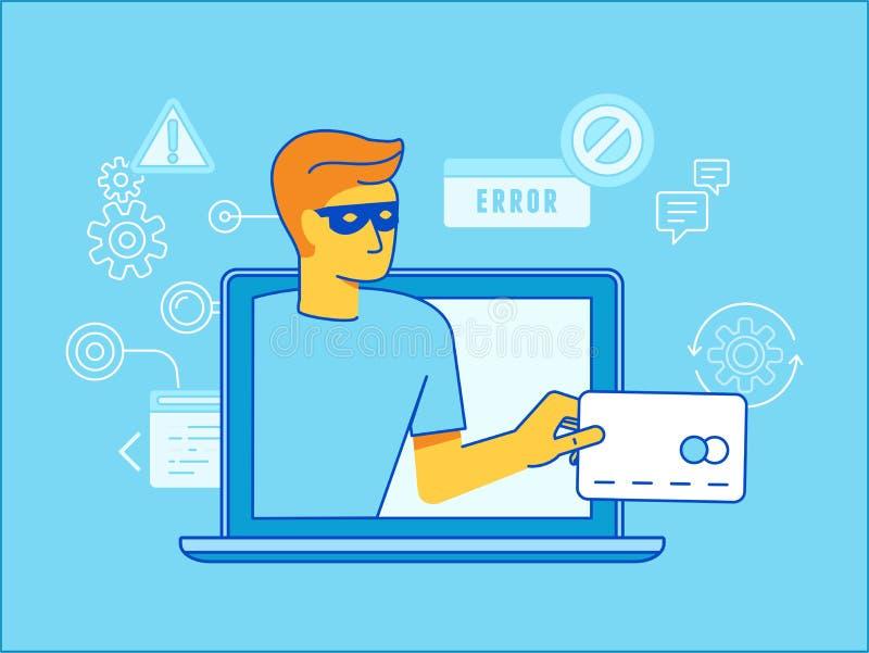 Pirata informático que roba datos de la tarjeta de crédito ilustración del vector