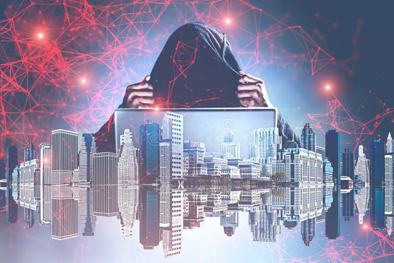 Pirata informático que rompe seguridad en la noche, red ilustración del vector