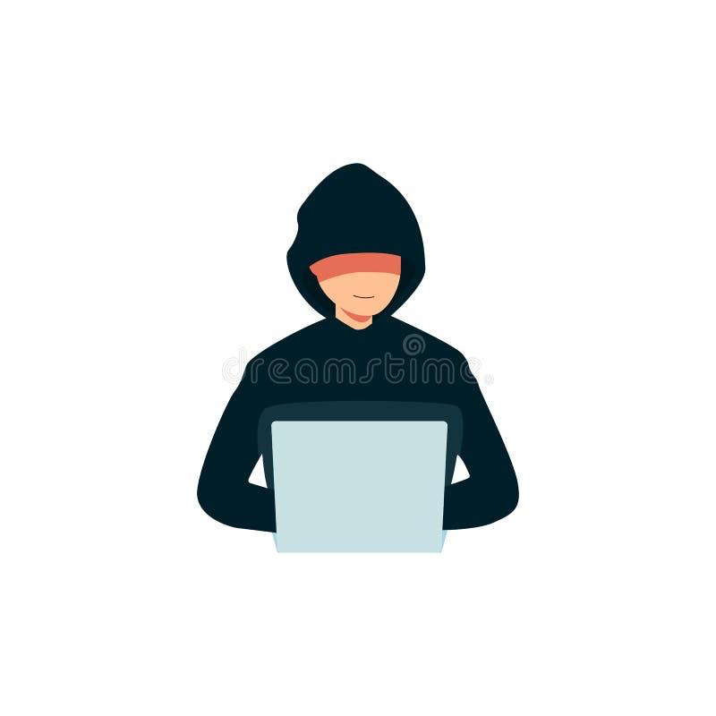 Pirata informático que usa un icono del ordenador portátil, hombre criminal en una sudadera con capucha que se rompe en la seguri libre illustration