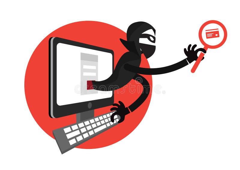Pirata informático que usa un ordenador portátil y sosteniendo una tarjeta de crédito delante del ordenador ilustración del vector