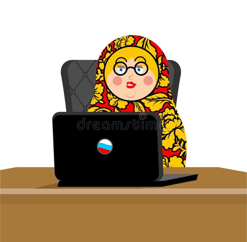 Pirata informático ruso Matryoshka y ordenador portátil Tecnología del IP en Rusia ilustración del vector