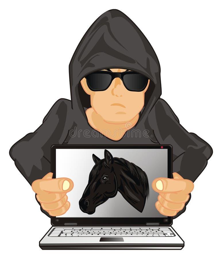 Pirata informático y caballo de Troya ilustración del vector
