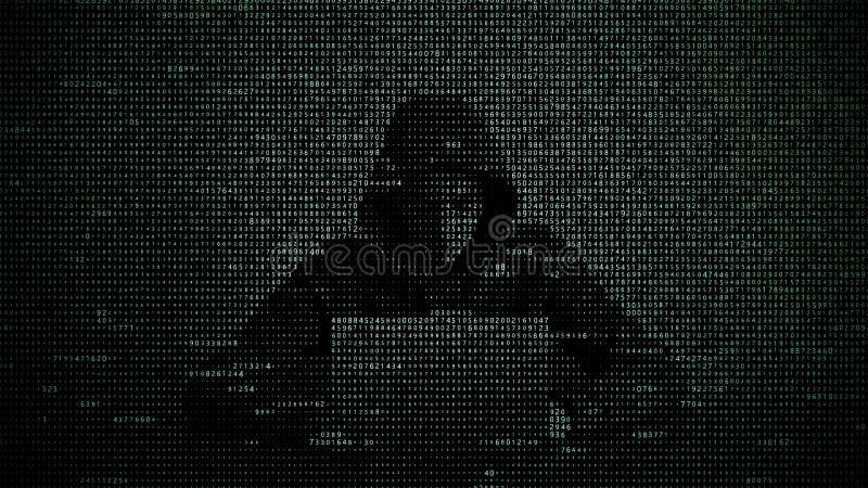 Pirata inform?tico en concepto de la seguridad de datos Pirata inform?tico que usa la computadora port?til Cortar Internet Ataque ilustración del vector