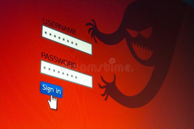 Pirata informatico che ruba le parole d'ordine da un personal computer incisione di concetto royalty illustrazione gratis