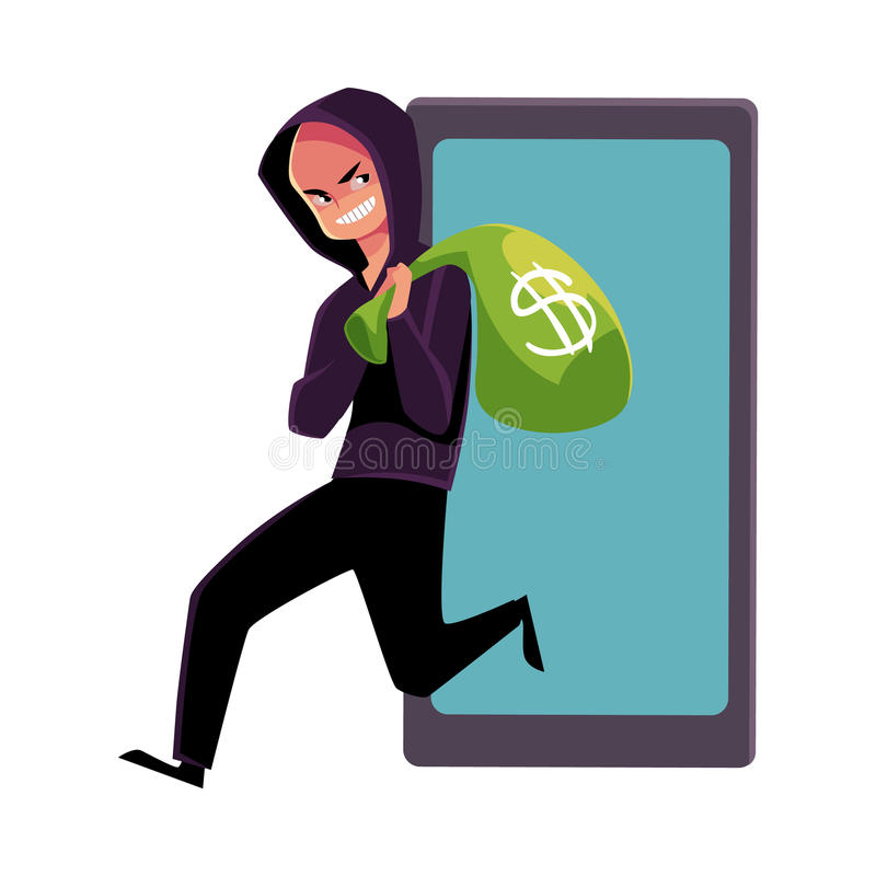 Pirata informatico che ruba soldi, cibercrimine, frode di Internet, raggiro online royalty illustrazione gratis