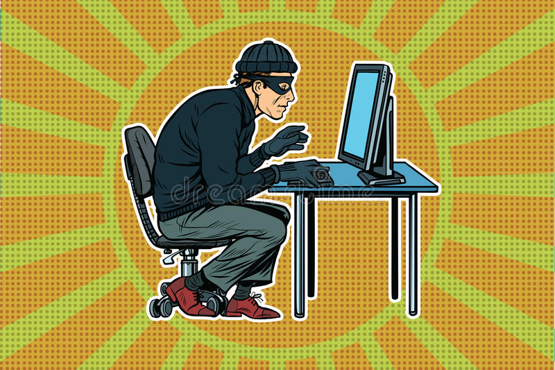 Pirata informatico che si siede al computer royalty illustrazione gratis