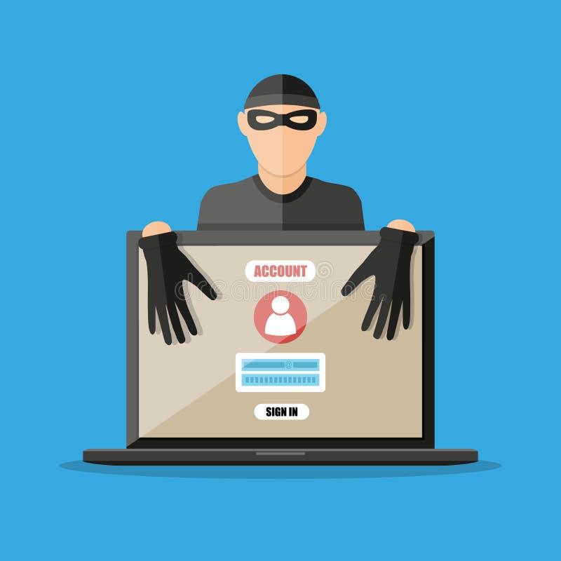 Pirata informatico del ladro che ruba le parole d'ordine dal computer portatile illustrazione di stock