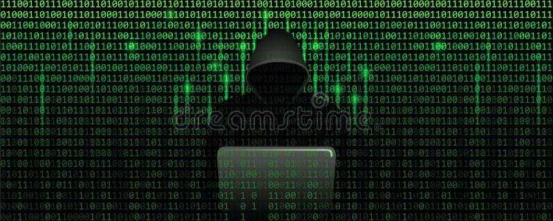 Pirata informatico di computer nel concetto di cibercrimine della matrice con il fondo di web di codice binario illustrazione vettoriale